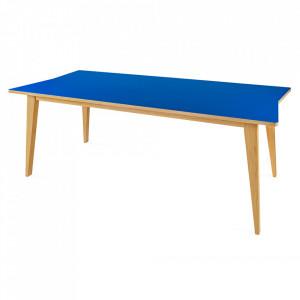 Masa dining maro/albastra din PAL si lemn 89x197 cm Arrow Woodman