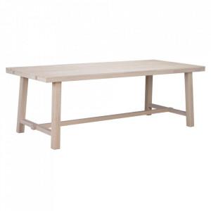 Masa dining maro deschis din lemn de stejar 95x220 cm Brooklyn Whitewashed Rowico Home