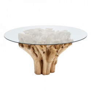 Masa dining maro din sticla si lemn de tec 150 cm Leadville Denzzo