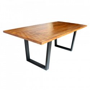 Masa dining maro/neagra din lemn de mango si metal 100x200 cm Scorpion Invicta Interior