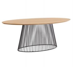 Masa dining maro/neagra din lemn de mango si metal 110x200 cm Leska Kave Home