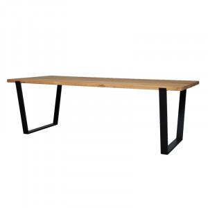 Masa dining maro/neagra din lemn de stejar si fier 100x240 cm Mechelen Lifestyle Home Collection