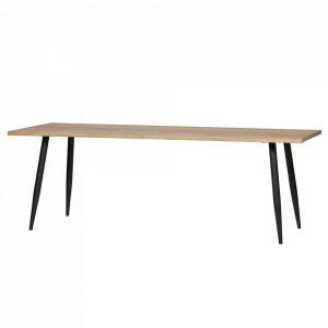 Masa dining maro/neagra din lemn de stejar si otel 80x220 cm Panel Woood