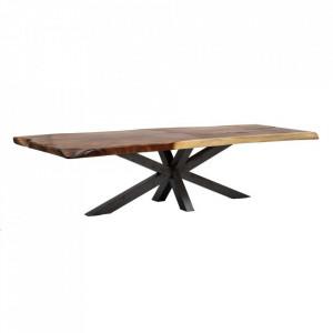 Masa dining maro/neagra din lemn de suar si fier 100x300 cm Upper Denzzo