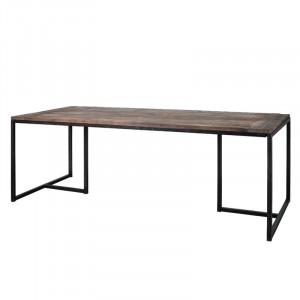 Masa dining maro/neagra din lemn de ulm si metal 90x220 cm Attila Lifestyle Home Collection