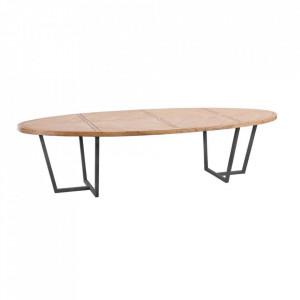 Masa dining maro/neagra din lemn mindi si fier 110x200 cm Cathie Denzzo