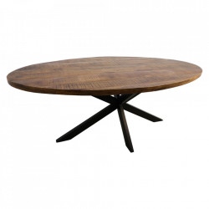 Masa dining maro/neagra din lemn si fier 110x220 cm Oval HSM Collection