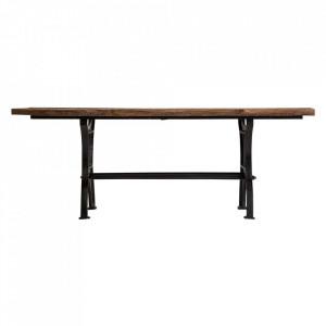 Masa dining maro/neagra din lemn si fier 98x210 cm Malmo Vical Home
