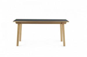 Masa dining maro/neagra din lemn si linoleum 84x160 cm Slice Normann Copenhagen