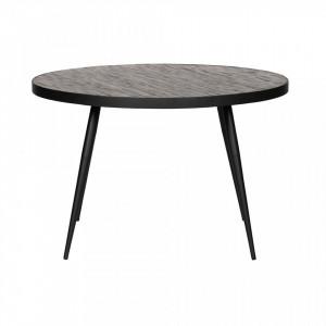 Masa dining maro/neagra din metal si lemn tec reciclat 120 cm Vic Woood