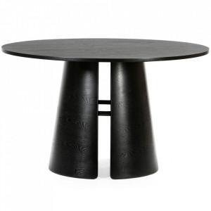 Masa dining neagra din lemn si placaj 137 cm Cep Teulat