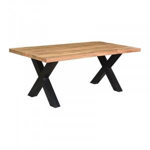 Masa dining neagra/maro din lemn si metal 100x220 cm Zino LABEL51