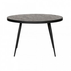 Masa dining rotunda din metal si lemn tec reciclat 120 cm Vic Woood