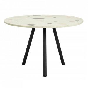 Masa dining verde fistic/neagra din terrazzo si fier 120 cm Pistachio Grande Nordal