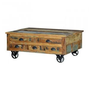 Masa multicolora din lemn si fier 70x110 cm Yvette Giner y Colomer