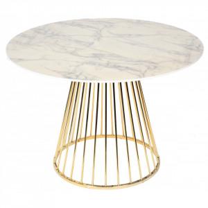 Masa rotunda din metal auriu si MDF alb 110 cm Romane Opjet Paris