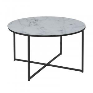 Masuta alba/neagra din metal si sticla pentru cafea 80 cm Alisma Round Actona Company