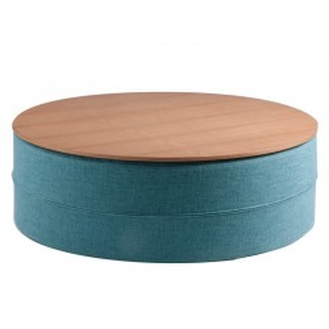 Masuta albastra pentru cafea din textil si lemn 80 cm Mauro Blue Somcasa