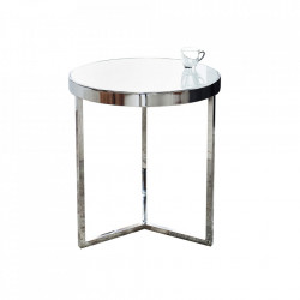 Masuta argintie/alba din sticla si metal 45 cm Art Deco Invicta Interior