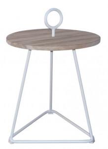 Masuta cafea din lemn si aluminiu pentru exterior 49 cm Palm Beny White LifeStyle Home Collection