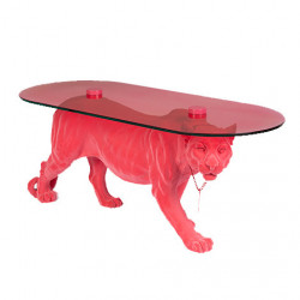 Masuta cafea roz din sticla si rasina 40x90 cm Dope As Hell Bold Monkey