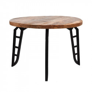 Masuta neagra/maro din lemn si metal 60 cm Flintstone LABEL51