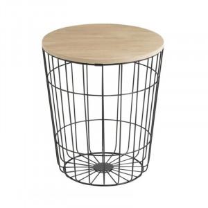 Masuta neagra/maro din metal si lemn pentru cafea 34 cm Lotus Actona Company