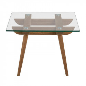 Masuta transparenta/maro din lemn si sticla 60x60 cm Taxi Actona Company