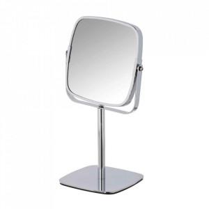 Oglinda cosmetica de masa patrata argintie din metal 14x14 cm Kare Wenko