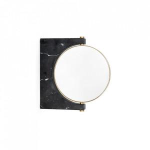 Oglinda cosmetica de perete neagra din marmura si alama 25x25 cm Pepe Menu
