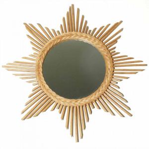 Oglinda rotunda crem din ratan 65x65 cm Bloom Zago