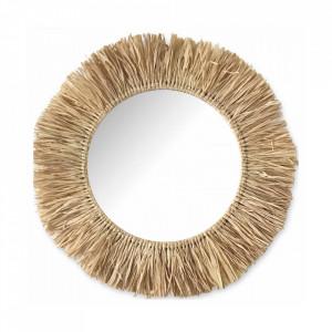 Oglinda rotunda maro din rafie 59 cm Sahara Objet Paris