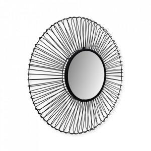 Oglinda rotunda neagra din fier si sticla 90 cm Tarifa HSM Collection