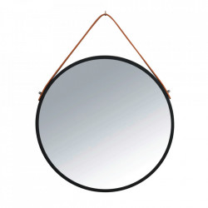 Oglinda rotunda neagra/maro din fier si piele 40 cm Borrone Wenko