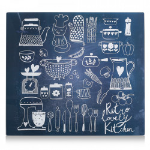 Panou antistropire albastru/alb din sticla pentru perete 50x56 cm Lovely Kitchen Zeller