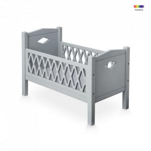 Pat de jucarie gri pentru papusi din MDF 28x51 cm Harlequin Grey Cam Cam