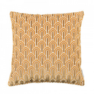 Perna decorativa galbena din viscoza si poliester 45x45 cm Beverly Zuiver