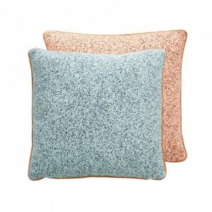 Perna decorativa patrata albastru pal/roz piersica din bumbac 50x50 cm Taro Oyoy