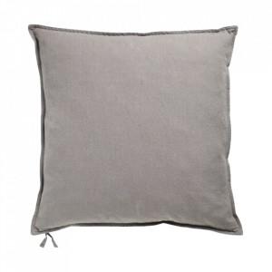 Perna decorativa patrata gri din in si bumbac 50x50 cm Soft Collection Bolia