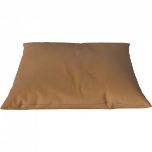 Perna decorativa patrata maro coniac din piele 60x60 cm Classic Sydney Bolia