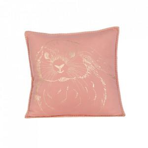 Perna decorativa roz din bumbac 40x40 cm Gini Rabbit Kids Depot