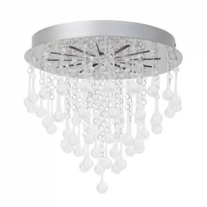 Plafoniera argintie/transparenta din plastic si metal cu LED Svea Brilliant