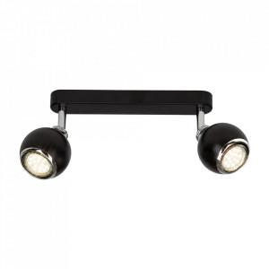 Plafoniera neagra/argintie din metal cu 2 LED-uri Ina Brilliant