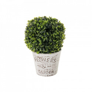 Planta artificiala verde/alba din plastic si ciment 27 cm Jardin Grand Unimasa