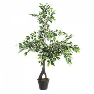 Planta artificiala verde din plastic si ciment 120 cm Variegated Ficus Bizzotto