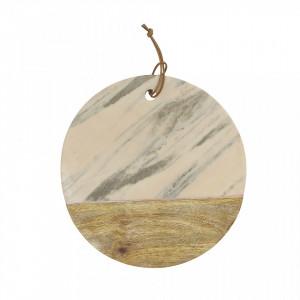 Platou multicolor din lemn de mango si marmura 32 cm Serva Bloomingville