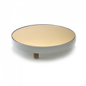 Platou rotund alb din sticla si lemn 31 cm Moon Serax