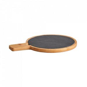 Platou servire maro/gri din lemn si ardezie 22x29 cm Cottura Zeller