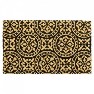 Pres dreptunghiular gri inchis din fibre de cocos pentru intrare 45x75 cm Grafik Lako