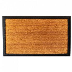 Pres dreptunghiular maro/negru din fibre de cocos si cauciuc pentru intrare 45x75 cm Guco Lako